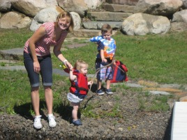 kristine ruby and henry on beach at Fry Lodge Lake CDA